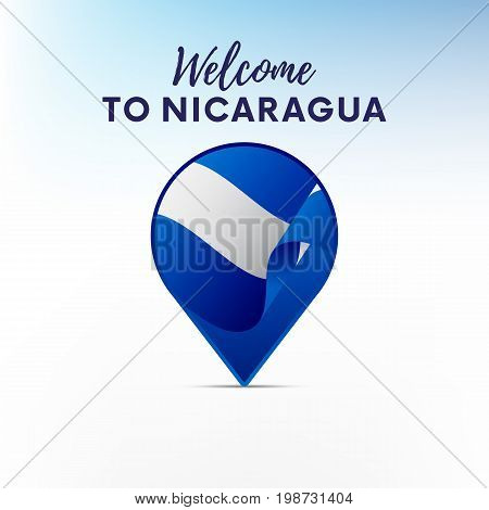 Flag of Nicaragua in shape of map pointer or marker. Welcome to Nicaragua. Vector illustration.