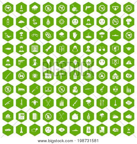 100 tension icons set in green hexagon isolated vector illustration