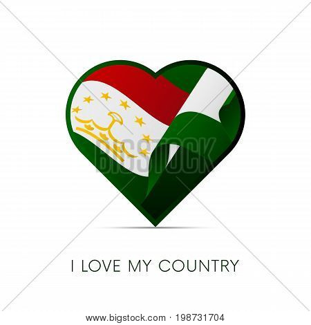 Tajikistan flag in heart. I love my country. sign. Vector illustration.