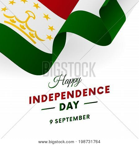 Tajikistan Independence Day. 9 September. Waving flag in heart. Vector illustration.