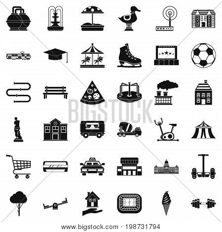 Urban icons set. Simple style of 36 urban vector icons for web isolated on white background