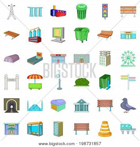 Urban icons set. Cartoon style of 36 urban vector icons for web isolated on white background