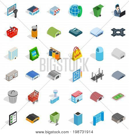 Urban icons set. Isometric style of 36 urban vector icons for web isolated on white background