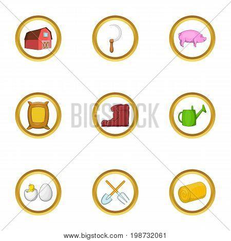 Garden farming icon set. Cartoon set of 9 garden farming vector icons for web isolated on white background