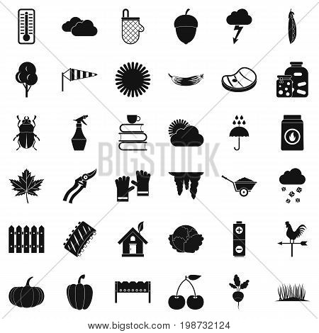 Vegetable icons set. Simple style of 36 vegetable vector icons for web isolated on white background