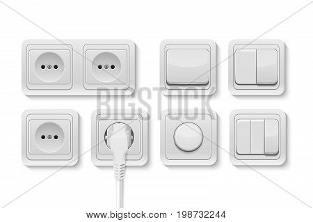 Vector realistic white switches and socket set isolated on white background. Design template, EPS10 illustration.