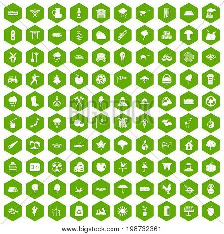 100 tree icons set in green hexagon isolated vector illustration