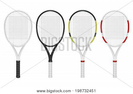 Vector realistic tennis racket set, closeup isolated on white background. Design template, EPS10 illustration.