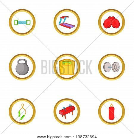 Sportswear icon set. Cartoon set of 9 sportswear vector icons for web isolated on white background
