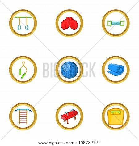 Fitness icon set. Cartoon set of 9 fitness vector icons for web isolated on white background