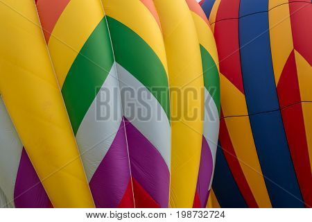 Closeup of of hot air balloons being inflated
