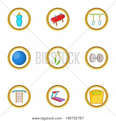 Fitness equipment icon set. Cartoon set of 9 fitness equipment vector icons for web isolated on white background