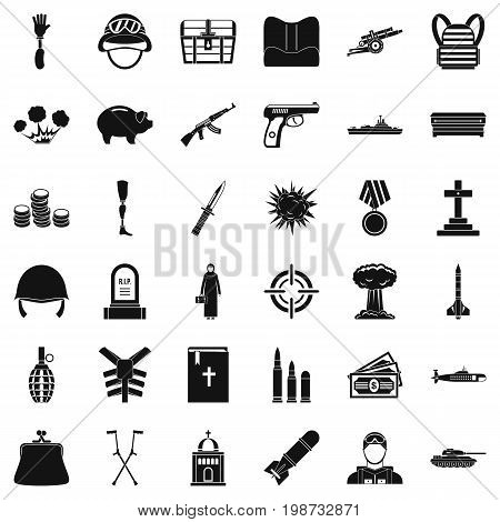 War crime icons set. Simple style of 36 war crime vector icons for web isolated on white background