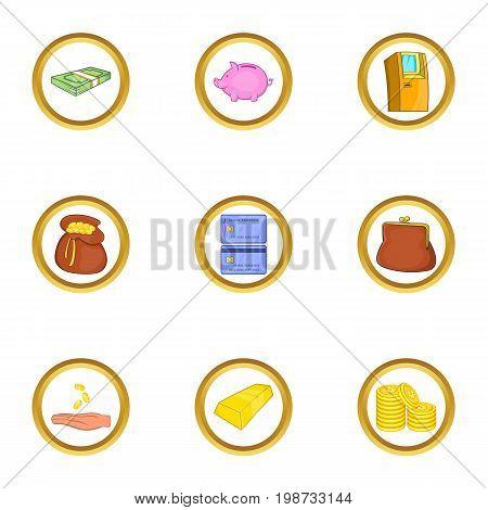 Money icon set. Cartoon set of 9 sport money icons for web isolated on white background