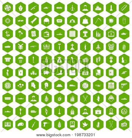 100 war crimes icons set in green hexagon isolated vector illustration