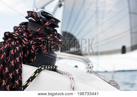 Winch and ropes of luxury sail yacht