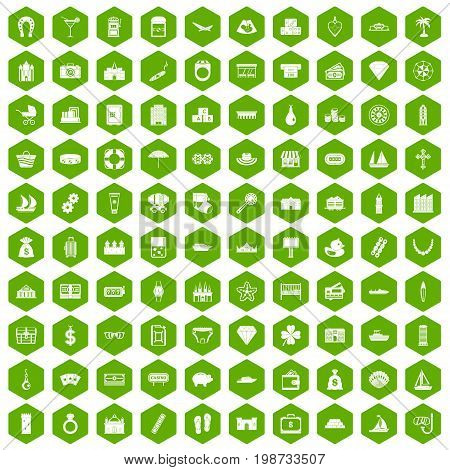 100 wealth icons set in green hexagon isolated vector illustration