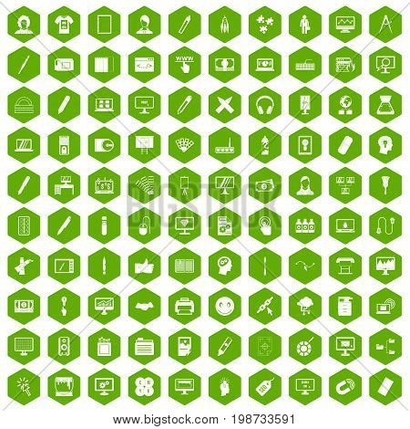 100 webdesign icons set in green hexagon isolated vector illustration