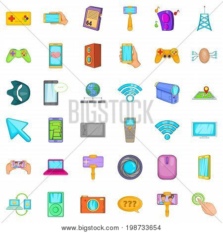 Web mobile icons set. Cartoon style of 36 web mobile vector icons for web isolated on white background