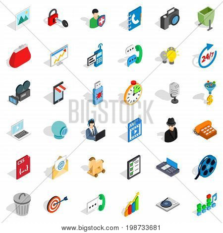 Web mobile icons set. Isometric style of 36 web mobile vector icons for web isolated on white background
