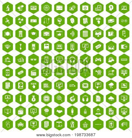 100 website icons set in green hexagon isolated vector illustration