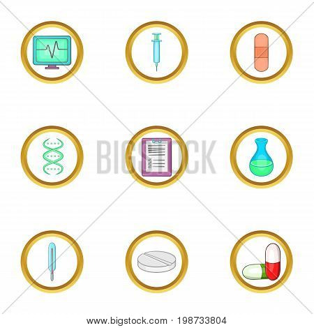 Medical heal icon set. Cartoon set of 9 medical heal vector icons for web isolated on white background