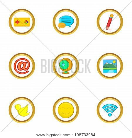 Web surfing icon set. Cartoon set of 9 web surfing vector icons for web isolated on white background