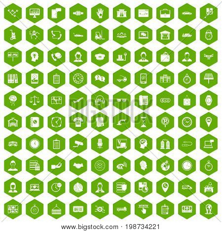 100 working hours icons set in green hexagon isolated vector illustration