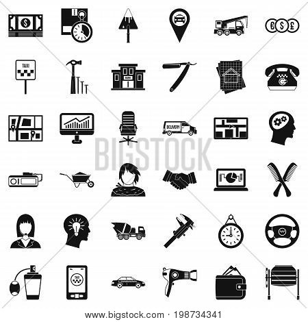 Work icons set. Simple style of 36 work vector icons for web isolated on white background