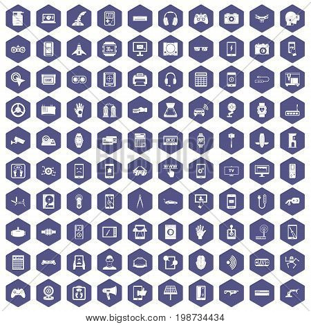 100 adjustment icons set in purple hexagon isolated vector illustration