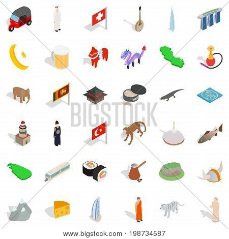 World tour icons set. Isometric style of 36 world tour vector icons for web isolated on white background