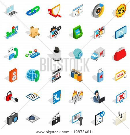WWW icons set. Isometric style of 36 www vector icons for web isolated on white background