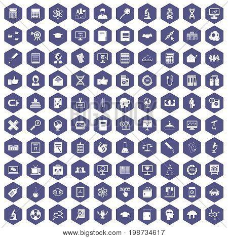 100 analytics icons set in purple hexagon isolated vector illustration