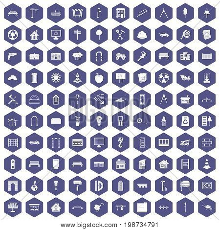 100 architecture icons set in purple hexagon isolated vector illustration