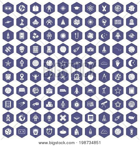 100 astronomy icons set in purple hexagon isolated vector illustration