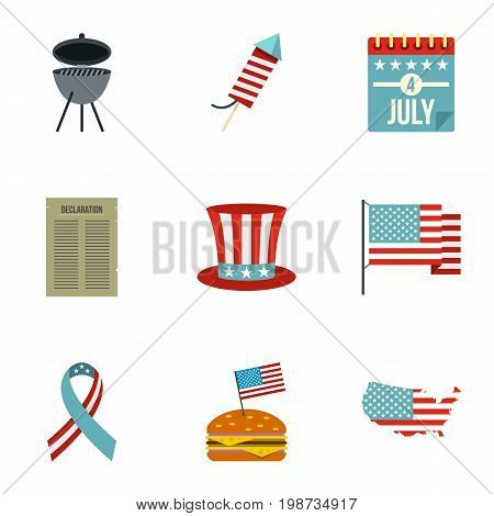 Independence day icon set. Flat style set of 9 independence day vector icons for web isolated on white background