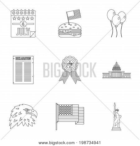 Fourth of July day icon set. Outline style set of 9 independence day vector icons for web isolated on white background