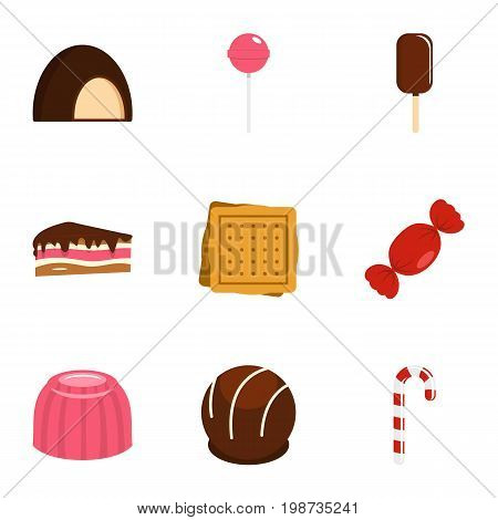 Sweets icon set. Flat style set of 9 sweet vector icons for web isolated on white background