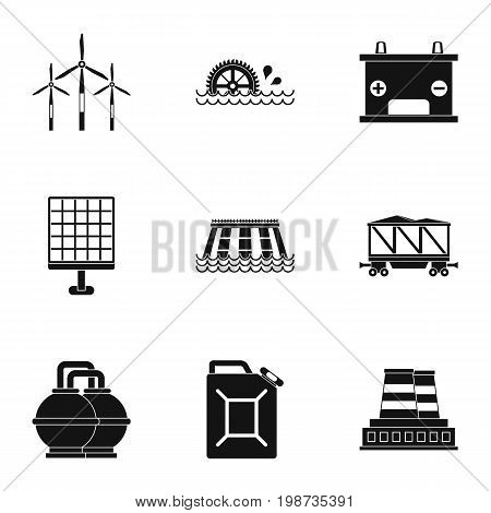 Power generation icon set. Simple style set of 9 energy sources vector icons for web isolated on white background