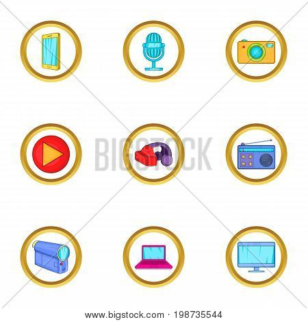 Smart device icons set. Cartoon set of 9 smart device vector icons for web isolated on white background