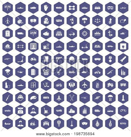 100 burden icons set in purple hexagon isolated vector illustration