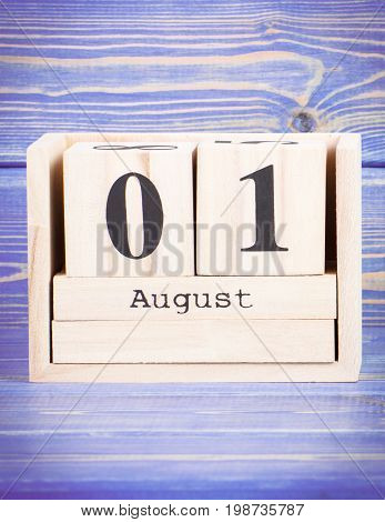 August 1St. Date Of 1 August On Wooden Cube Calendar