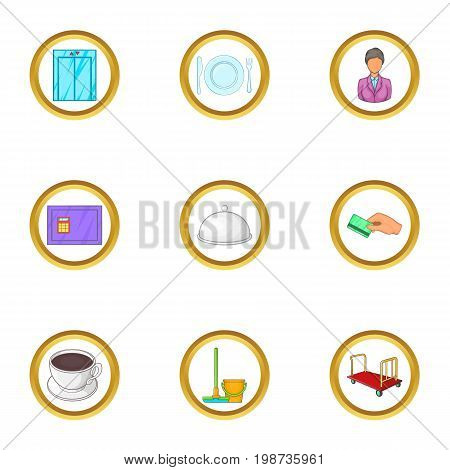 Hotel staff icons set. Cartoon set of 9 hotel staff vector icons for web isolated on white background