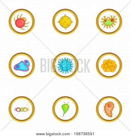 Virus icons set. Cartoon set of 9 virus vector icons for web isolated on white background