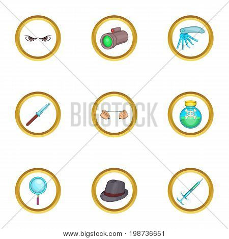Detective icons set. Cartoon set of 9 detective vector icons for web isolated on white background