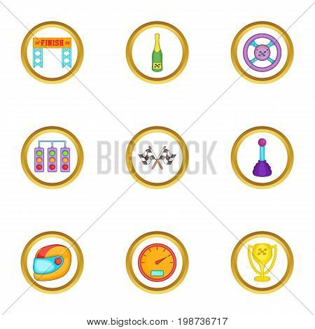 Racing icons set. Cartoon set of 9 racing vector icons for web isolated on white background