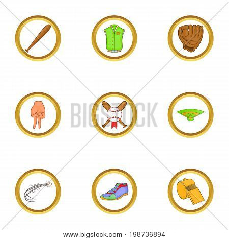 Soccer icons set. Cartoon set of 9 soccer vector icons for web isolated on white background