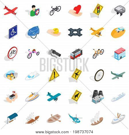 Crossroad icons set. Isometric style of 36 crossroad vector icons for web isolated on white background