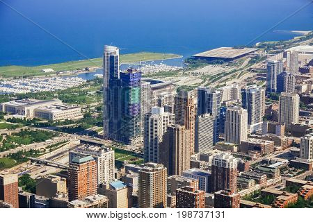 CHICAGO, USA - 20 July, 2017: Aerial view of cityscape of Chicago at sunset with Chicago view of the city