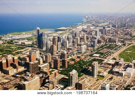 CHICAGO, USA - 20 July, 2017: Aerial view of Chicago, Illinois. Chicago view of the city